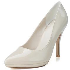 Couro Brilhante Salto agulha Bombas Plataforma Fechados sapatos (085057109)