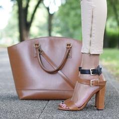 Женщины PU Устойчивый каблук Сандалии На каблуках Открытый мыс с пряжка обувь (087157087)