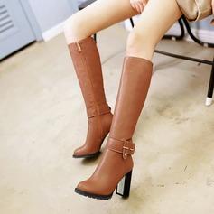 Женщины кожа Устойчивый каблук Ботинки Сапоги до колен с заклепки пряжка Застежка-молния обувь (088125612)