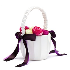 Classic Flower Basket in Satin With Bow (102018098)
