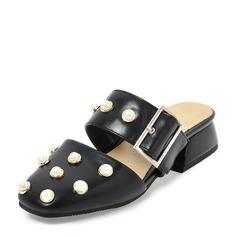 Женщины PVC Плоский каблук Сандалии На плокой подошве с Имитация Перл обувь (086153769)
