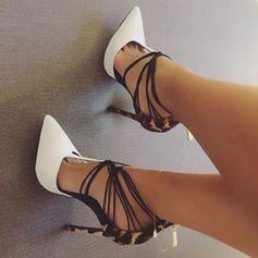 Женщины кожа Высокий тонкий каблук Сандалии На каблуках Закрытый мыс с Шнуровка обувь (087124926)