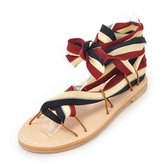 Женщины Кукурузные отруби Плоский каблук Сандалии Открытый мыс Босоножки с Шнуровка обувь (087155461)