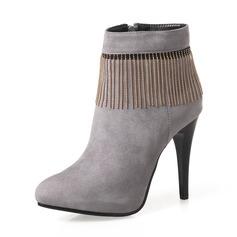 Mulheres Camurça Salto agulha Bombas Botas Botas na panturrilha com Zíper Corrente sapatos (088143723)