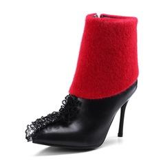 Kvinner PU Stiletto Hæl Pumps Støvler med Ruched Glidelås sko (088144291)