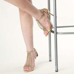 Женщины Мерцающая отделка Высокий тонкий каблук Сандалии Открытый мыс с Мерцающая отделка Шнуровка кисточкой обувь (087113615)