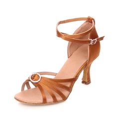Femmes Satiné Talons Sandales Latin avec Strass Lanière de cheville Chaussures de danse (053064942)