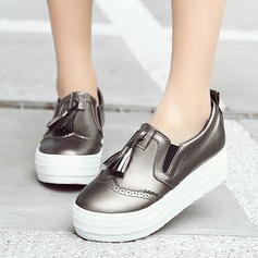 Женщины кожа Плоский каблук На плокой подошве Закрытый мыс с кисточкой обувь (086119389)