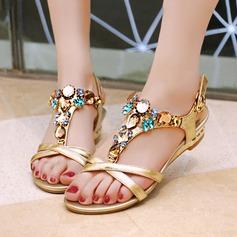Mulheres Couro verdadeiro Plataforma Sandálias Calços Beach Wedding Shoes com Fivela Strass (047125447)