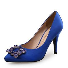 Mulheres como o cetim de seda Salto agulha Bombas com Cristal sapatos (085105800)