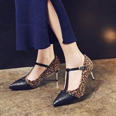 Женщины кожа Высокий тонкий каблук На каблуках Закрытый мыс с пряжка обувь (085153081)