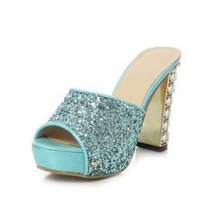 Konstläder Tjockt Häl Pumps Plattform Peep Toe Slingbacks Tofflor med Strass Glittrande Glitter skor (087048911)