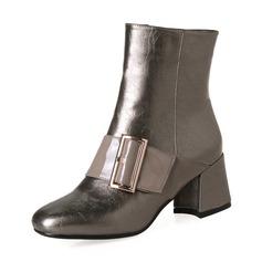 Femmes PU Talon bottier Escarpins Bottes Bottines avec Boucle Zip chaussures (088143728)