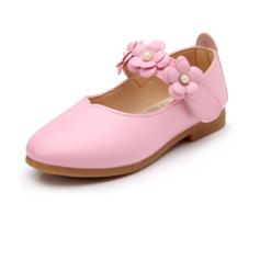 Fille de Bout fermé similicuir talon plat Chaussures plates Chaussures de fille de fleur avec Velcro Une fleur (207102021)