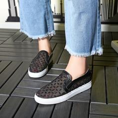 Женщины Кружева Плоский каблук На плокой подошве с блестками Вышитые кружева обувь (086138224)