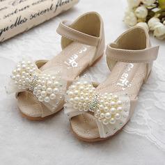 Jentas Titte Tå Leather flat Heel Sandaler Flate sko Flower Girl Shoes med Bowknot Imitert Perle Velcro (207111959)