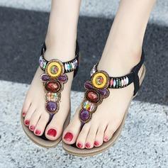Kvinner Lær Flat Hæl Sandaler Flate sko Titte Tå med Rhinestone Elastisk bånd sko (087115656)