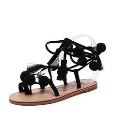 Женщины Замша Плоский каблук Сандалии На плокой подошве Открытый мыс Босоножки с Лента Шнуровка обувь (087124980)