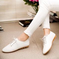 Женщины PU Плоский каблук На плокой подошве Закрытый мыс с Шнуровка обувь (086137045)