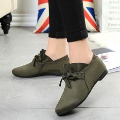 Женщины Замша Плоский каблук На плокой подошве Закрытый мыс с Шнуровка обувь (086142413)
