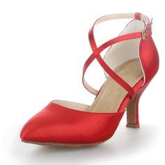 Женщины Атлас На каблуках На каблуках Бальные танцы с Ремешок на щиколотке Обувь для танцев (053058746)