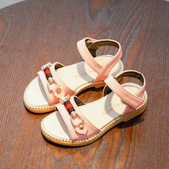 Jentas Titte Tå Leather flat Heel Sandaler Flate sko Flower Girl Shoes med Rivet (207167103)