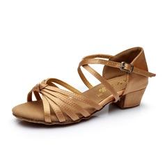 Enfants Satiné Talons Sandales Latin avec Lanière de cheville Chaussures de danse (053053049)