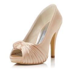 Женщины Атлас Высокий тонкий каблук Открытый мыс На каблуках с Оборками (047047997)