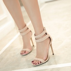 Women's Suede Stiletto Heel Sandals Peep Toe With Buckle shoes (087145429)