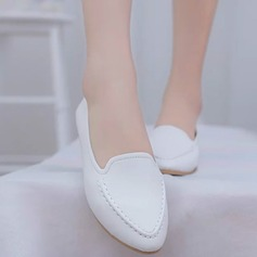 Женщины PU Плоский каблук На плокой подошве Закрытый мыс обувь (086142409)