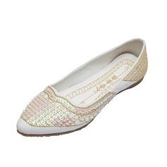 Kunstleder Flascher Absatz Flache Schuhe Geschlossene Zehe mit Perlen verziert Schuhe (086056681)