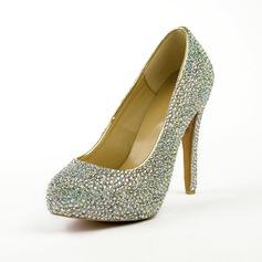 Patent Leather Stiletto Heel Pumps Plateau Closed Toe met Strass schoenen (085026496)