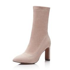 Vrouwen Suede Stiletto Heel Pumps Laarzen Half-Kuit Laarzen met Anderen schoenen (088143756)