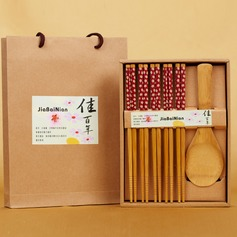 Floral Design Bamboo Spoon and Chopsticks Set (051039213)
