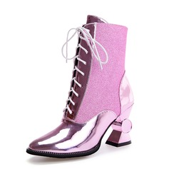 Women's Leatherette Chunky Heel Ankle Boots shoes (088091713)