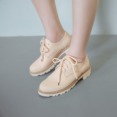 Women's PU Flat Heel Flats Closed Toe With Lace-up shoes (086145715)