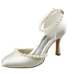 Женщины Атлас Высокий тонкий каблук Закрытый мыс На каблуках с пряжка Имитация Перл (047065625)