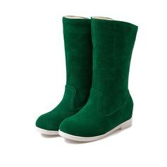 Femmes Suède Talon plat Bottes Bottes neige chaussures (088109381)