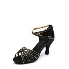 Женщины Атлас На каблуках Сандалии Латино с Ремешок на щиколотке пряжка Обувь для танцев (053113005)