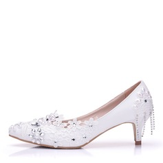 Vrouwen Kunstleer Low Heel Closed Toe Pumps met Stitching Lace Kristal (047151544)
