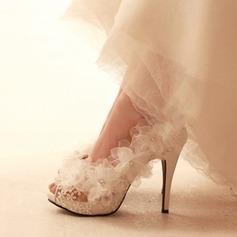 Женщины сетка Высокий тонкий каблук Открытый мыс Платформа Beach Wedding Shoes с Цветок (047126529)