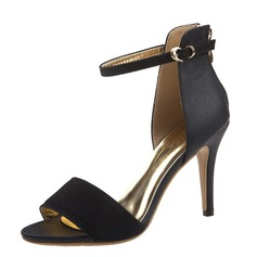 Women's Suede Leatherette Stiletto Heel Sandals Peep Toe With Buckle shoes (087059843)