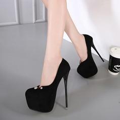 Женщины Замша Высокий тонкий каблук На каблуках Закрытый мыс с заклепки обувь (085120541)