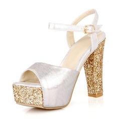 Женщины PU Устойчивый каблук Сандалии На каблуках Платформа с пряжка обувь (087155477)