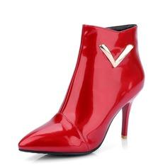 Женщины кожа Высокий тонкий каблук Полусапоги обувь (088092733)