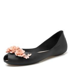Kvinner PVC Flate sko Titte Tå med Blomst sko (086165225)