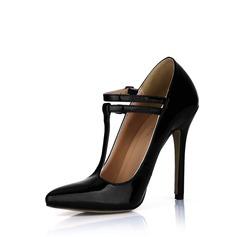 Cuir verni Talon stiletto Escarpins Bout fermé avec Boucle chaussures (085022610)
