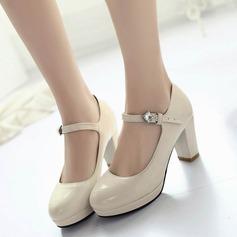 Женщины кожа Плоский каблук На каблуках Закрытый мыс с горный хрусталь пряжка обувь (085124730)