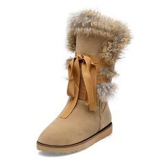 кожа Плоский каблук Сапоги до середины голени с мех обувь (088097896)