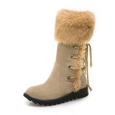 Femmes Suède Talon compensé Bottes Bottes mi-mollets Bottes neige avec Fourrure chaussures (088182651)